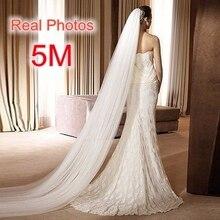 משלוח חינם תמונה אמיתית 5M לבן/שנהב חתונת רעלה רב שכבתי ארוך כלה צעיף ראש צעיף חתונה אביזרי חם למכור MD03034