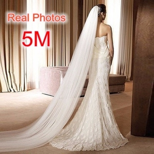 Image 1 - Free Shipping Real Photo 5M White/Ivory Wedding Veil Multi layer long Bridal Veil Head Veil Wedding Accessories Hot Sell MD03034