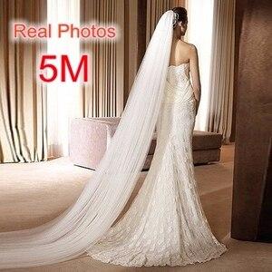 Image 1 - Ücretsiz kargo gerçek fotoğraf 5M beyaz/fildişi düğün duvağı çok katmanlı uzun gelin peçe kafa peçe düğün aksesuarları sıcak satış MD03034