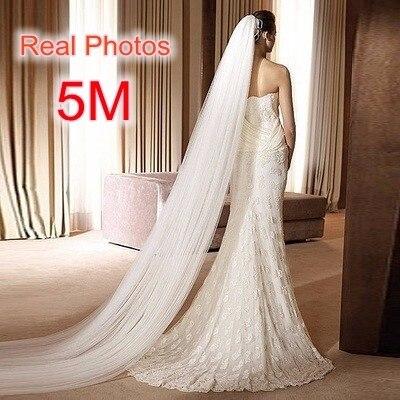 Ücretsiz kargo gerçek fotoğraf 5M beyaz/fildişi düğün duvağı çok katmanlı uzun gelin peçe kafa peçe düğün aksesuarları sıcak satış MD03034