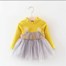 Emmababy Baby Dress Simple arrival  Knitted Mesh Tutu Autumn Spring Long Sleeve Solid Yellow Comfortable Cotton Blends