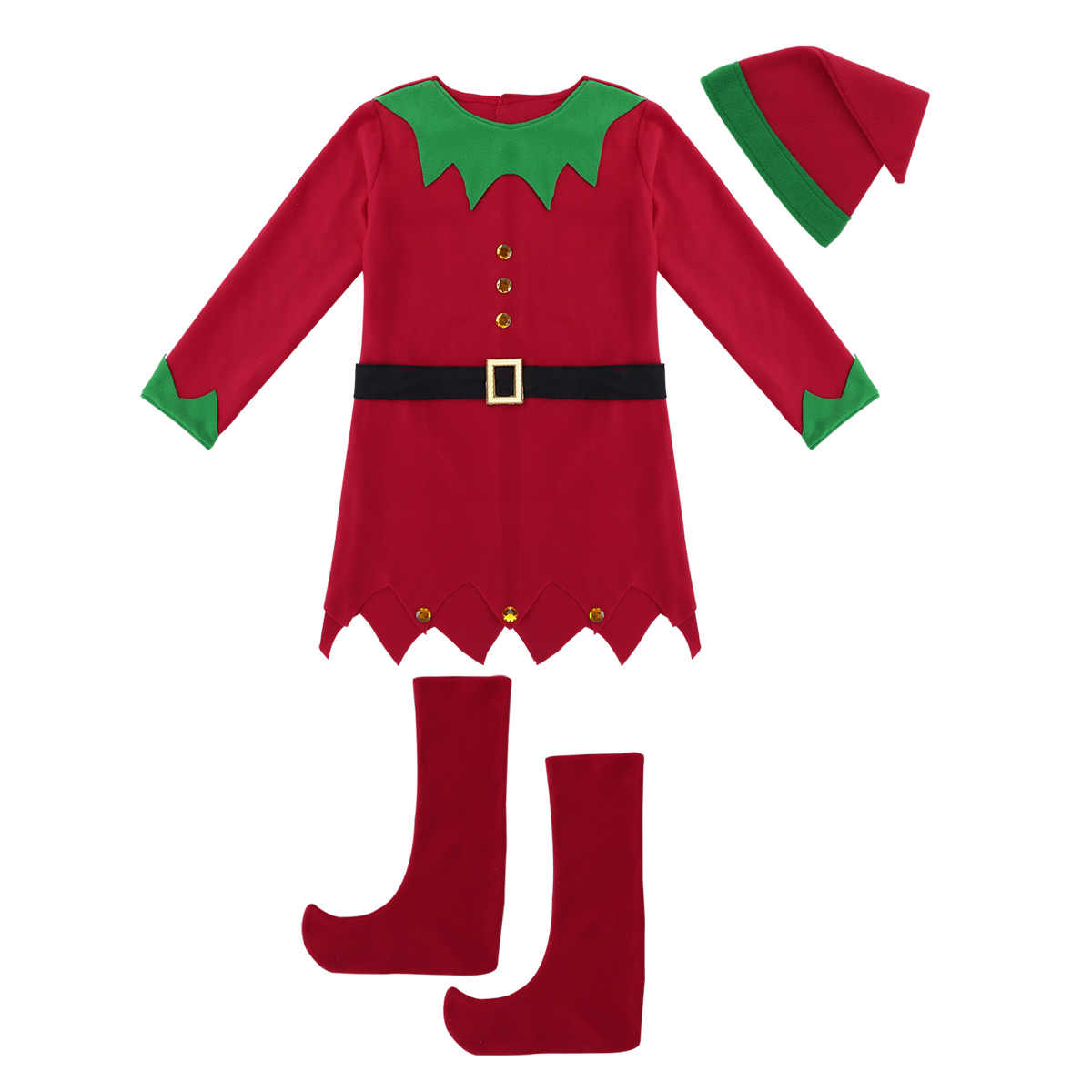 be7a83b2c77 TiaoBug Women Christmas Costume Long Sleeve Dress with Hat Belt Shoes Set  Adult Female Elf Costume Xmas Cosplay Party Dress Up