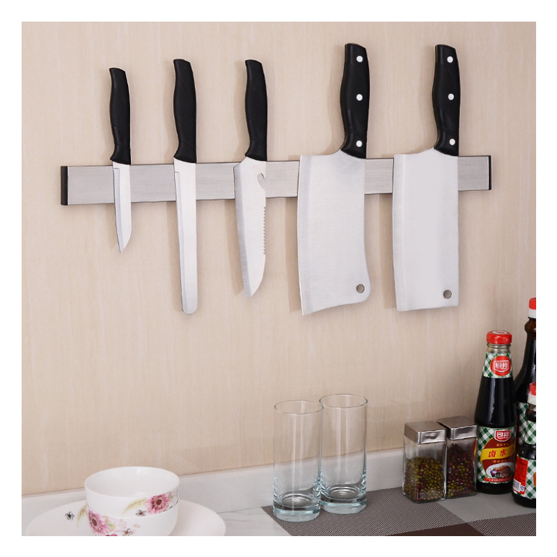 1 Pcs Hoge Kwaliteit Sterke Magnetische Mes Houder Tool Rest Plank Voor Kitchen Pub Bar Counter Zwart Mes Fijn Verwerkt