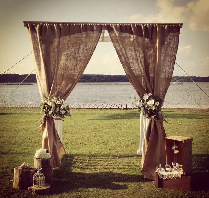 3X3M zsákvászon jutafüggöny esküvői rendezvények, partik és bankett dekorációkhoz (a többi dekorációt nem tartalmazza)