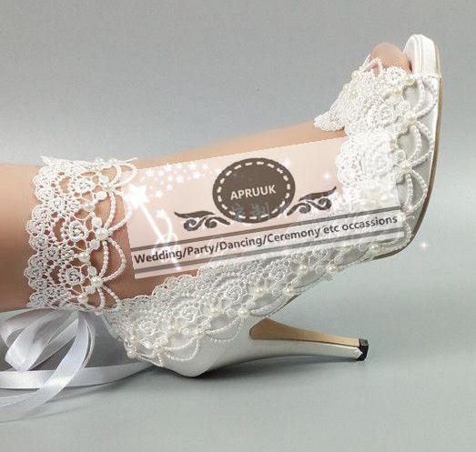 Plus size 41 42 43 lace wedding shoes bride HS296 peep toes 10CM super high heels patforms crystal pearls ribbons bridal shoe цены онлайн