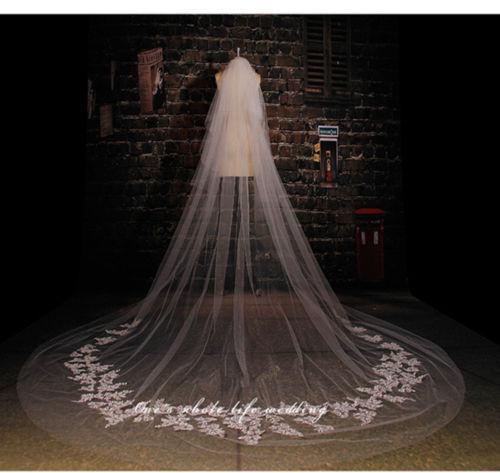 3M Cathedral Lace 2T Wedding Bridal Veils with comb voile mariage wedding accessories velos de novia veu de noivaom renda 2017