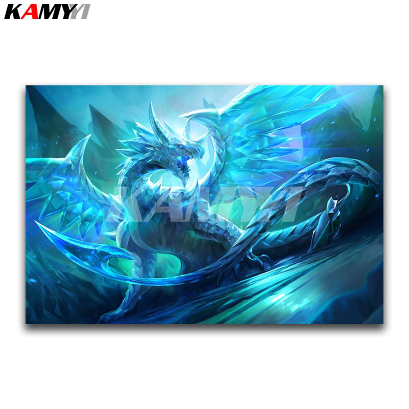 DIY 3D Diamond painting Cartoon Full Square Diamond embroidery Cross stitch Snow Dragon Full Round Diamond mosaic crystal