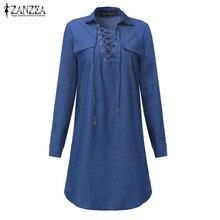 ZANZEA Women Denim Dress 2018 Autumn Mini Dress Long Sleeve Lapel Neck Bandage Lace Up Dresses Casual Sexy Vestidos Hot Sale