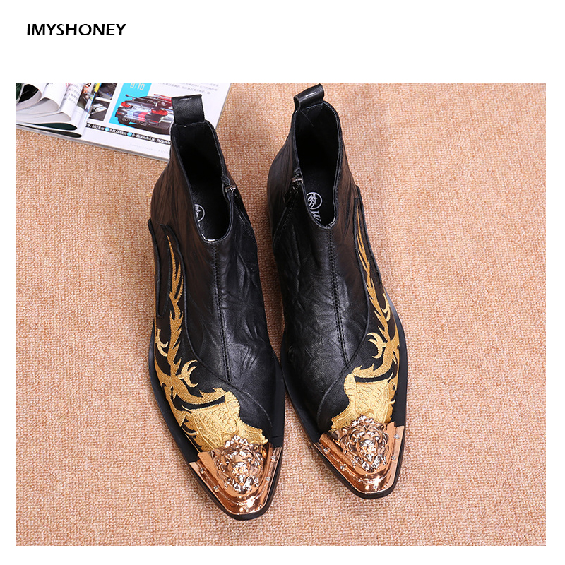 Genuine Leather Men Boots Fashion Sewing Pointed Toe Zip Mens Ankle Boots The Embroidery Decoration Gold Color Metal fashion pointed toe lace up mens shoes western cowboy boots big yards 46 metal decoration