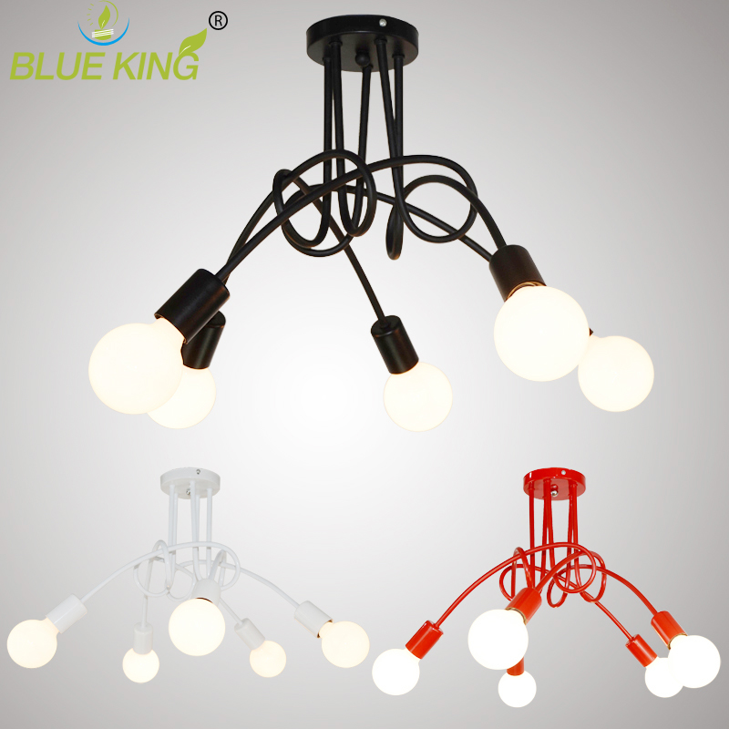 все цены на Vintage Ceiling Lights Ceiling Lighting Black Creative Personality Ceiling Lamps Fixtures Living Room Luminaria Lustre онлайн