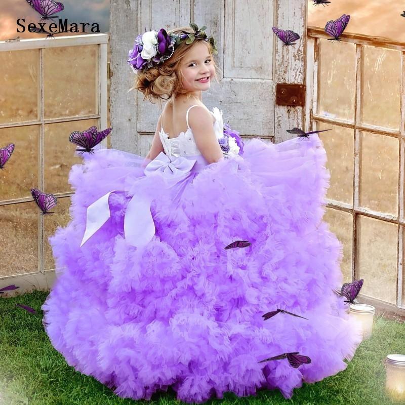 Puffy Cloudy Flower Girl Dress with Bow Handmade Flowers Ruffles Backless Sexy Princess Dress Spaghetti Straps Custom Made Longo