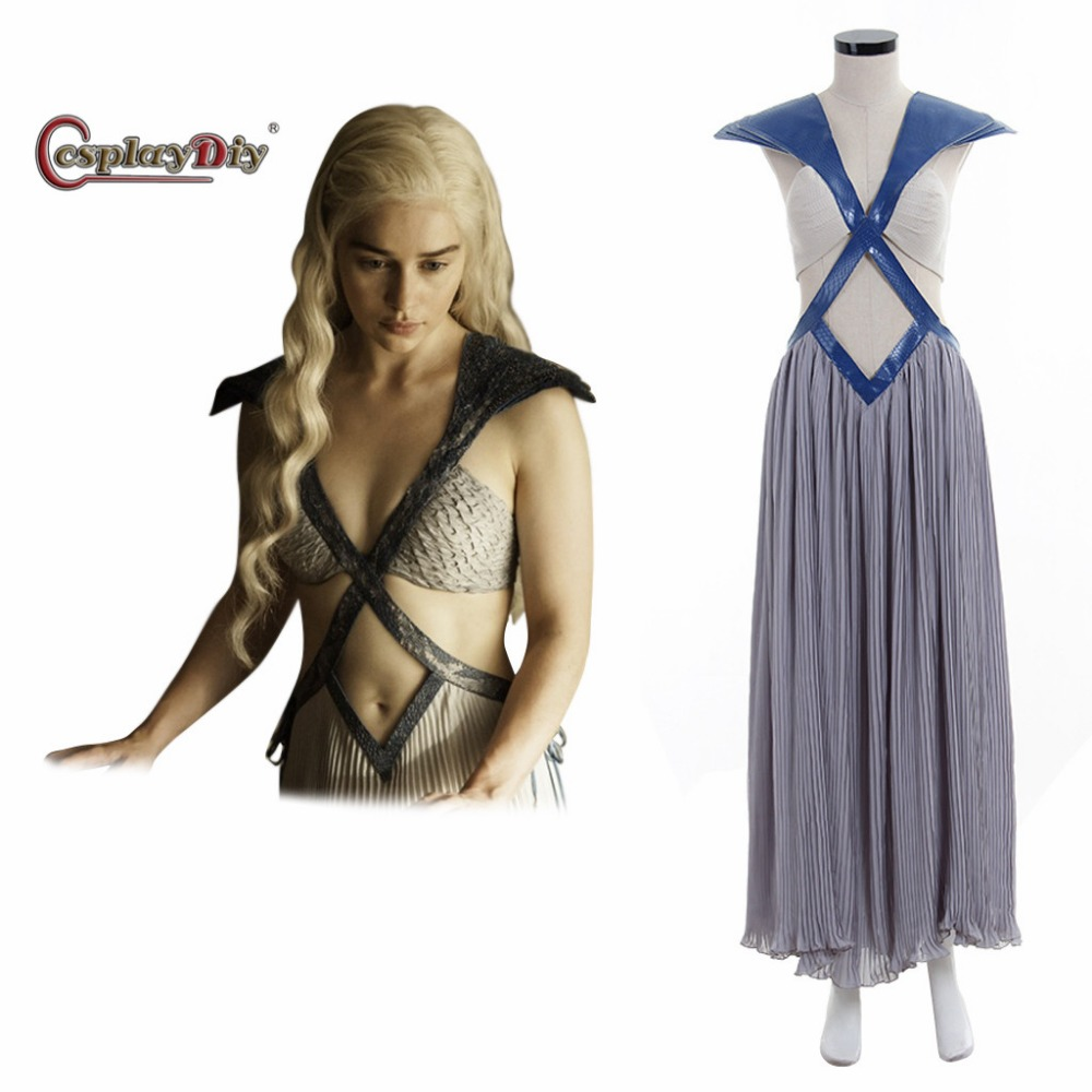 Cosplaydiy Daenerys Targaryen Costume Dress Game of thrones Adult Women Cosplay Costume For Halloween Carnival Custom Made