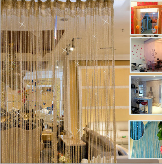 1 pc Decorative Line Curtains String Curtains Silver Thread Window Blind Vanlance Room Partition Curtain