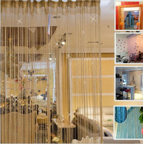 1 Stück Dekorative Linie Vorhänge Fadenvorhänge Silber Gewinde Fenster Blind Vanlance Raumteiler Vorhang Feine Verarbeitung