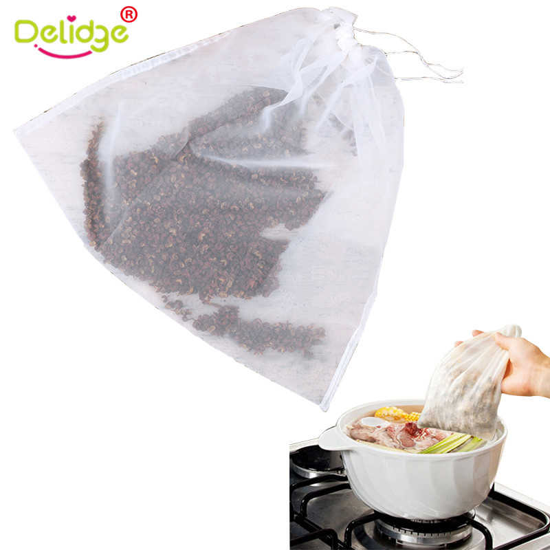 Delidge 2 Sizes Reusable Food Filter Bag Soy Milk Squeeze Bag Tea Coffee Juice Kitchen Mesh  Filter Soup Net Brew Tea Strainer