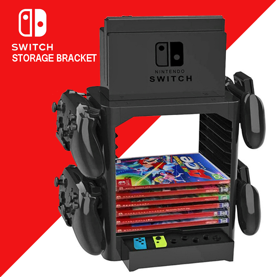 Nintend Switch NS Multi-Function Storage Bracket Tower Holder Stand Shelf for Switch Game Disc Card