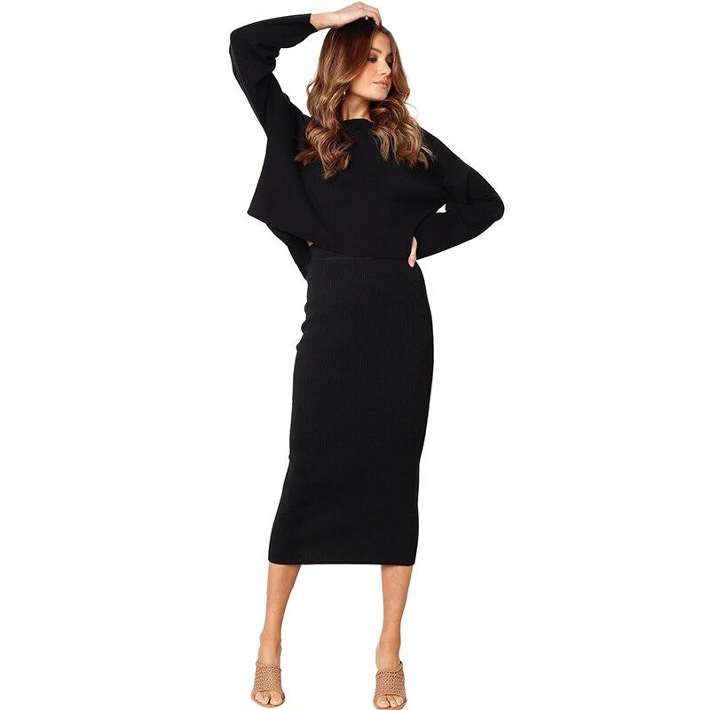 Korean Fashion Sexy Skirt Women Solid Color Ribbed H-line Skirt Elegant Elastic High Waist Slim Straight Midi Skirt Black/ White