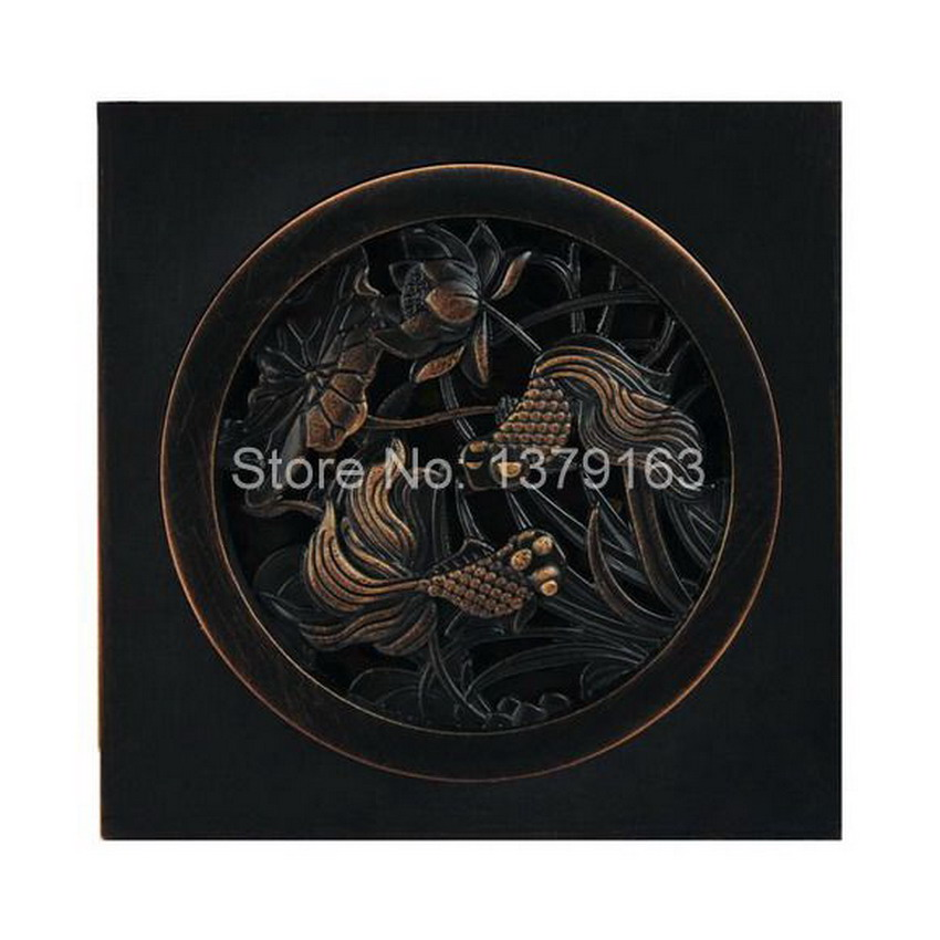 Black Oil Rubbed Bronze Floor Drain Goldfish Carve Pattern 3.9 inch Square Bathroom Shower Waste Washing Drain Grate ahr006 free shipping bathroom shower floor drain oil rubbed bronze grate waste drain lucky finishes