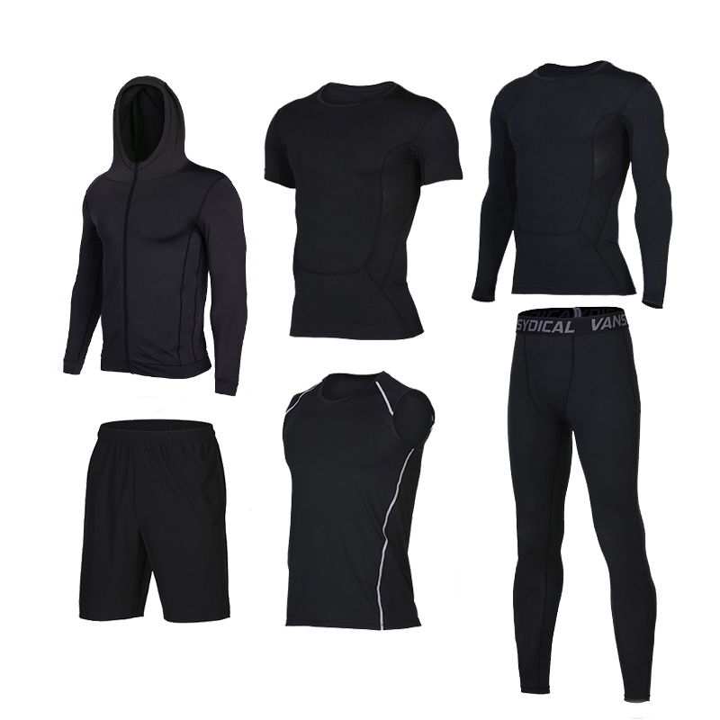 Men Male Sports Sets Athletic Running Suits 6 Pieces Basketball Training Jacket Pant Shirt Sets Men Sport Gym Sets Running Suits men table tennis sets dragon pattern sports training shirt short male pingpong badminton suit