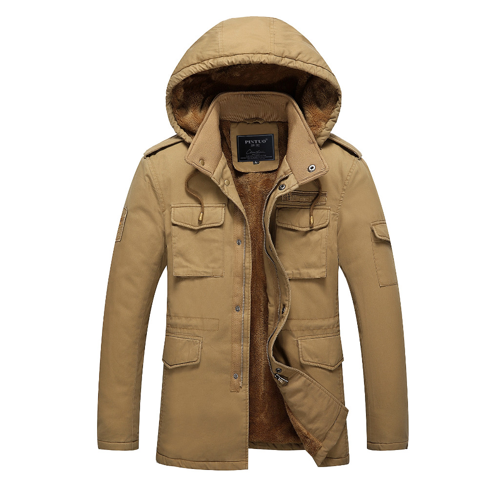 -30 Degree Plus Size Thick Warm Cotton Parka Casual Khaki Army Green Black Hooded Plus Velvet Windproof Winter Snow Coats