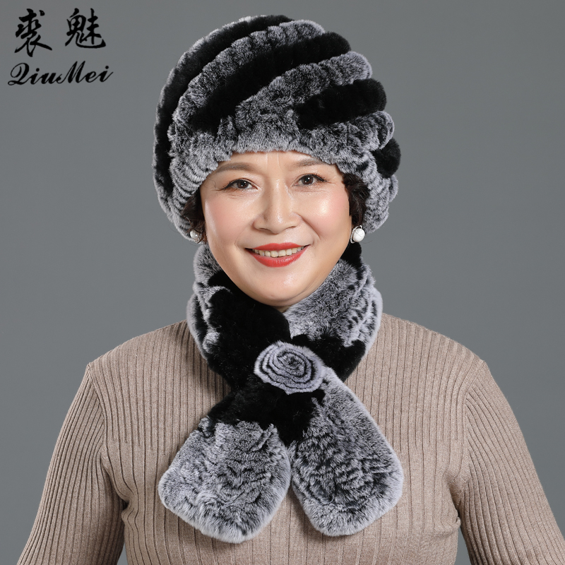 Winter Accessories For Women Scarf Hat Women Winter Hat Neck Warmer Scarves Hat Set Natural Rex Rabbit Fur Hat With Scarf
