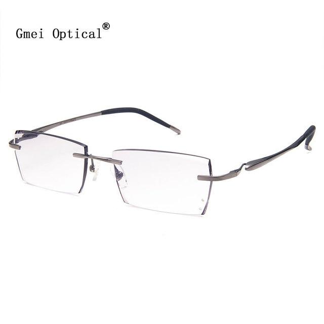 Gmei Optical Q1816 Rimless Diamond Cutting Fashion Eyeglasses for Men and Women Eyewear Frame Glasses