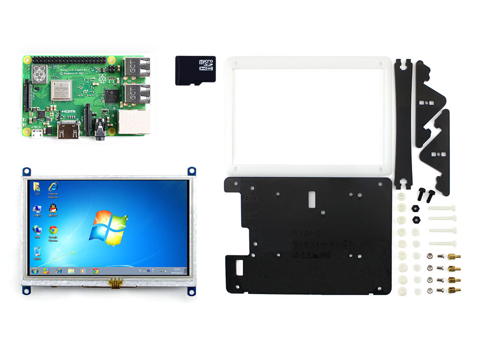 Raspberry Pi 3 modèle B + Kit de développement Type E avec 5 pouces HDMI LCD (B) boîtier bicolore 16 go Micro carte SD 1.4 GHz bras Bluetooth 4. 2