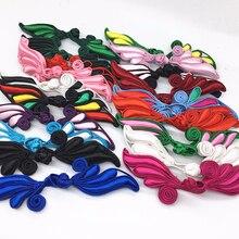 Китайский узел, сделанный вручную, с пуговицами, с дизайном листьев, многоцветные тканевые пуговицы для костюмов Тан, этнические сумки, украшения, сделай сам, швейный материал