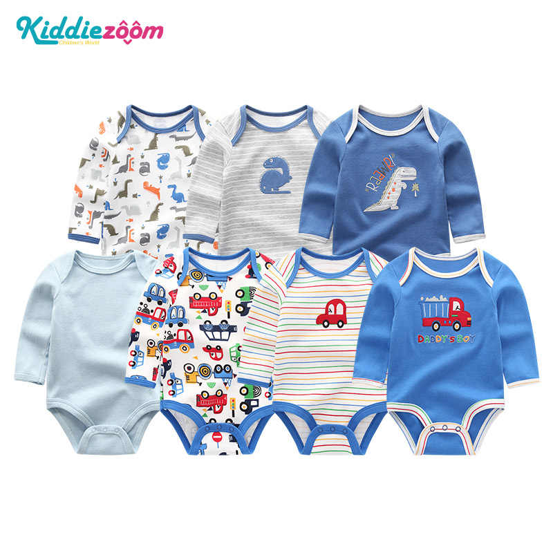 7 шт./партия, Одежда для новорожденных девочек, длинные комбинезоны для мальчиков, комплект одежды, recien, детские пижамы, хлопок, roupas de bebe, сдельник для ребенка