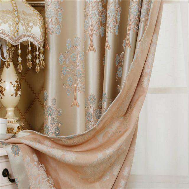 High End Luxury European Curtains Living Room Villa Embroidery Tree Curtain  Fabrics Cloth Drapes