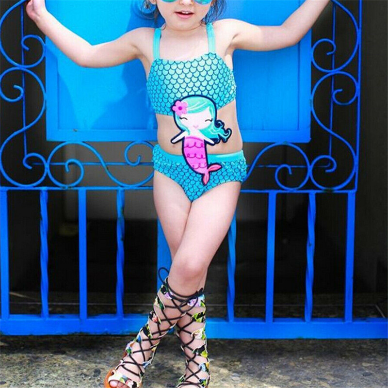 Kids Baby Girls Mermaid Hollow Waist Blue Swimsuit Swimwear Bathing Suit Beachwear Bikini Hot Sale Up to 5T Girl(China)