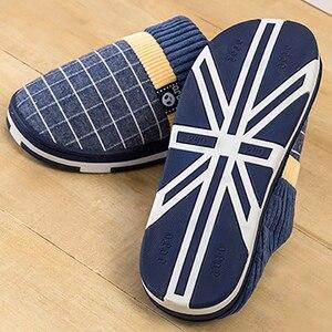 Image 5 - ชายรองเท้าแตะ2020 Warm Plush Flockชายรองเท้าแตะสำหรับHomeสวมใส่ลื่นเย็บยางนุ่มบ้านในร่มรองเท้า