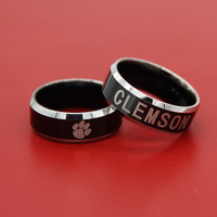 2017 Clemson Tigers Black Tungsten Wedding Band Comfort Fit 8mm Male Rugby Sport Ring Size 6