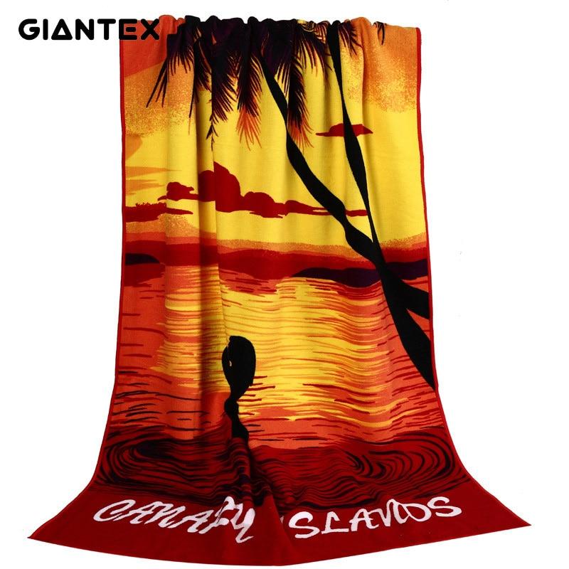 GIANTEX Print Super Absorbent Bath Beach Towels Soft Microfiber Towels Drying Washcloth Swimwear Shower 70x150cm U1153