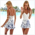 Monos Largos De Mujer 2016 Summer Style Sexy Women Floral Backless Strap V Neck Mini Rompers Bodysuit Jumpsuit Free Shipping