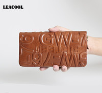 LEACOOL 2017 Vegetable Leather Wallet Multi Function Coin Purses Large Capacity Zipper Women Wallets Card Hold