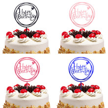 Cake Toppers Happy Birthday Wedding Acrylic Gold Blue Cupcake Topper Flags Baby Shower Baking DIY Party Decor Xmas