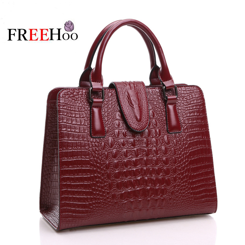 ФОТО  2017 new style crocodile pattern Genuine leather women bags famous brand designer Women messenger bags