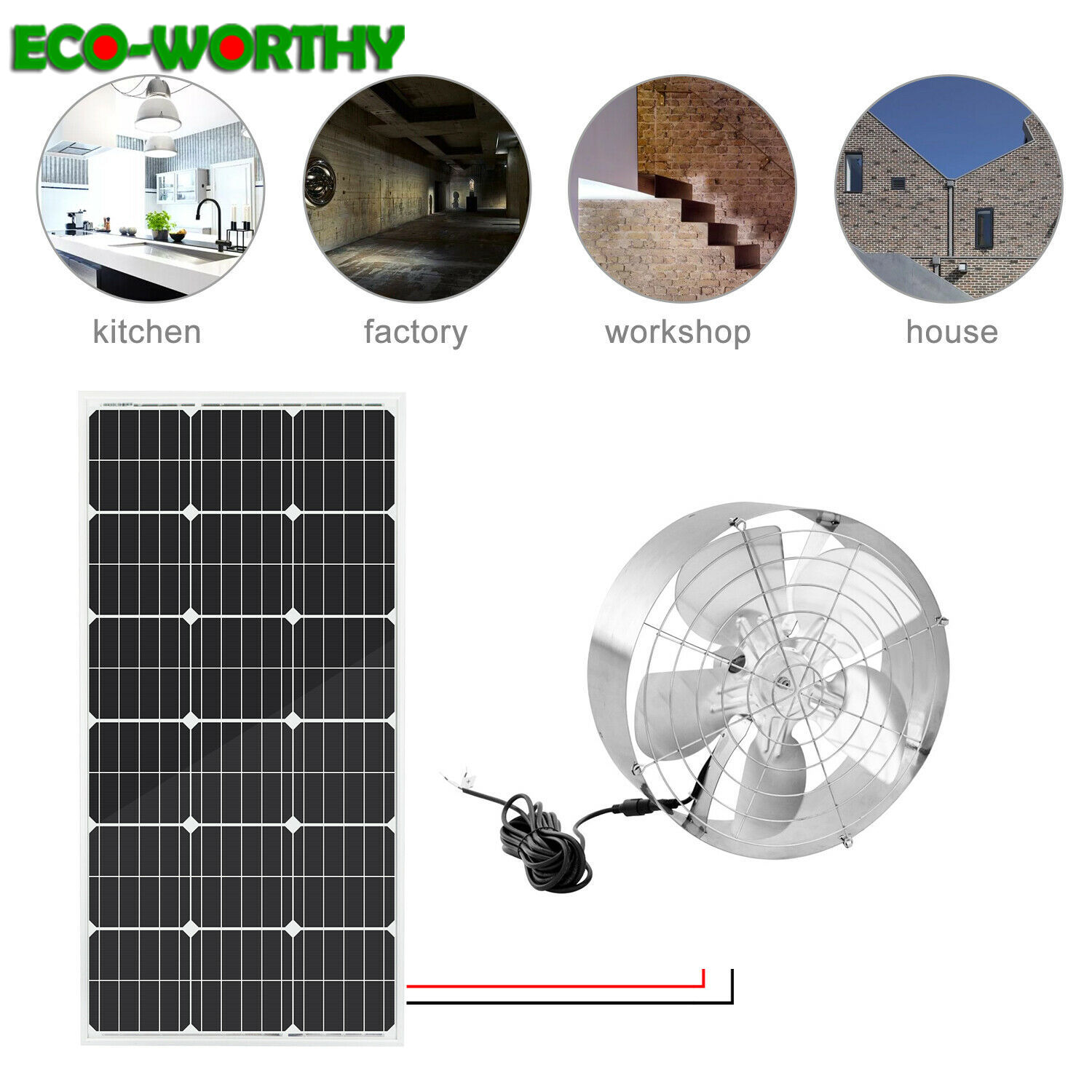 ECOworthy 100W mono Solar power Panel & 65W 3000 CFM Cooling solar Vent Fan Ventilation for Home Kitchen solar power system kits
