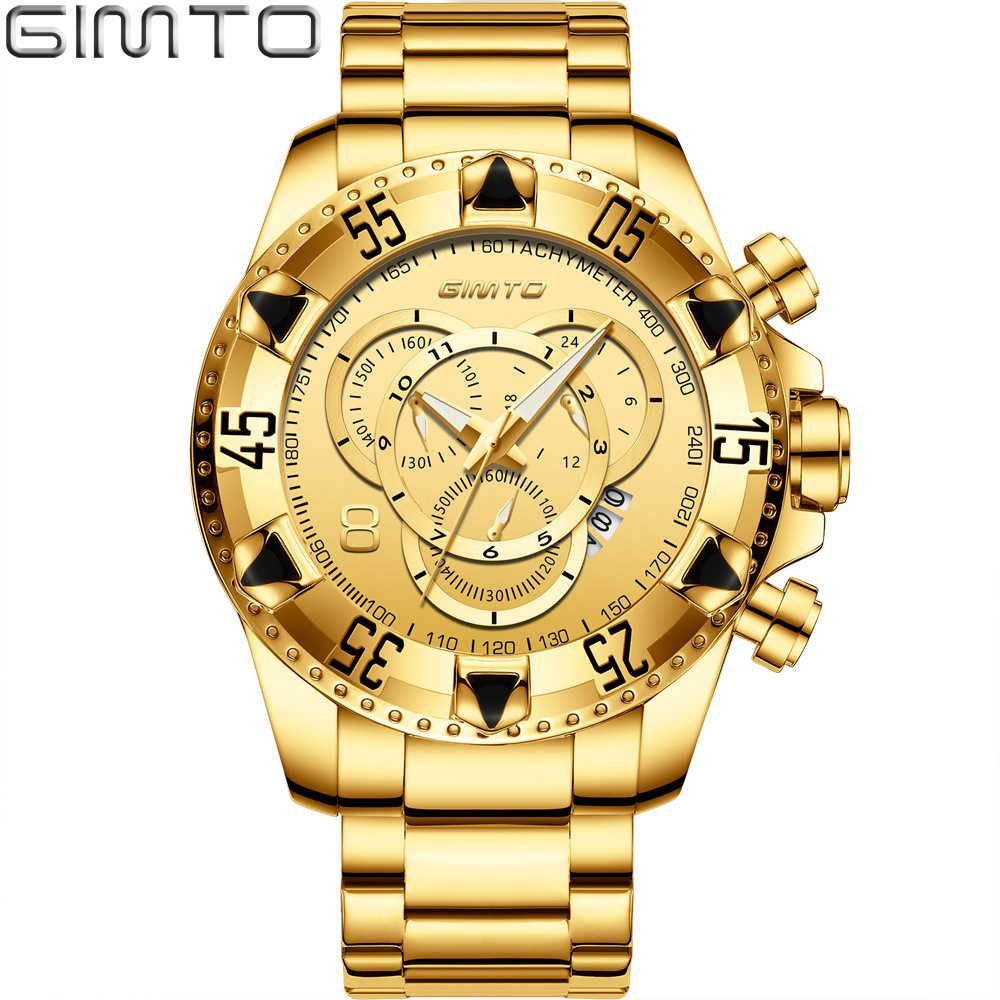 лучшая цена Multifunction men Large dial watches luxury gold quartz man watch GIMTO brand mens watches waterproof calendar men's big watch