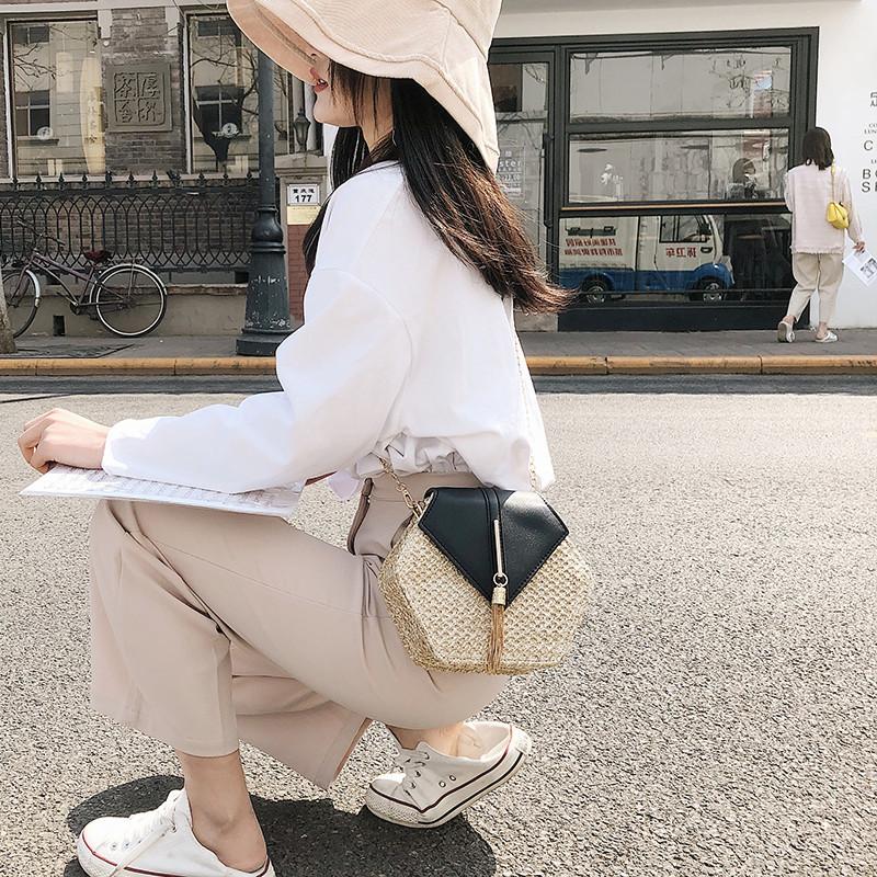Hexagon Mulit Style Straw+leather Handbag Women Summer Rattan Bag Handmade Woven Beach Circle Bohemia Shoulder Bag New Fashion 12