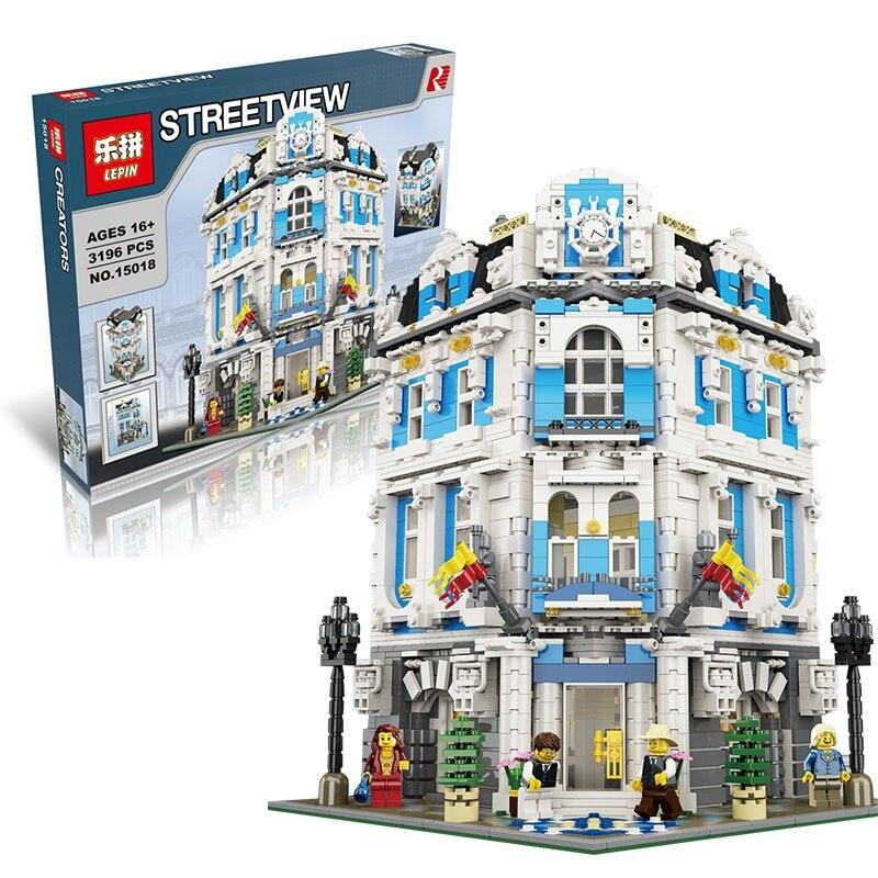 купить LEPIN 15018 3196pcs MOC City Series The Sunshine Hotel Set Building Blocks Bricks Educational Toys DIY Children Day's Gift по цене 6731.75 рублей