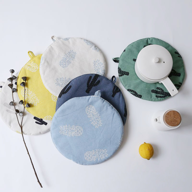 INS Nordic Style Cotton Linen Placemat Round Insulation Pads Disc Bowl Coaster Circular Dining Table Mats Kitchen Accessories