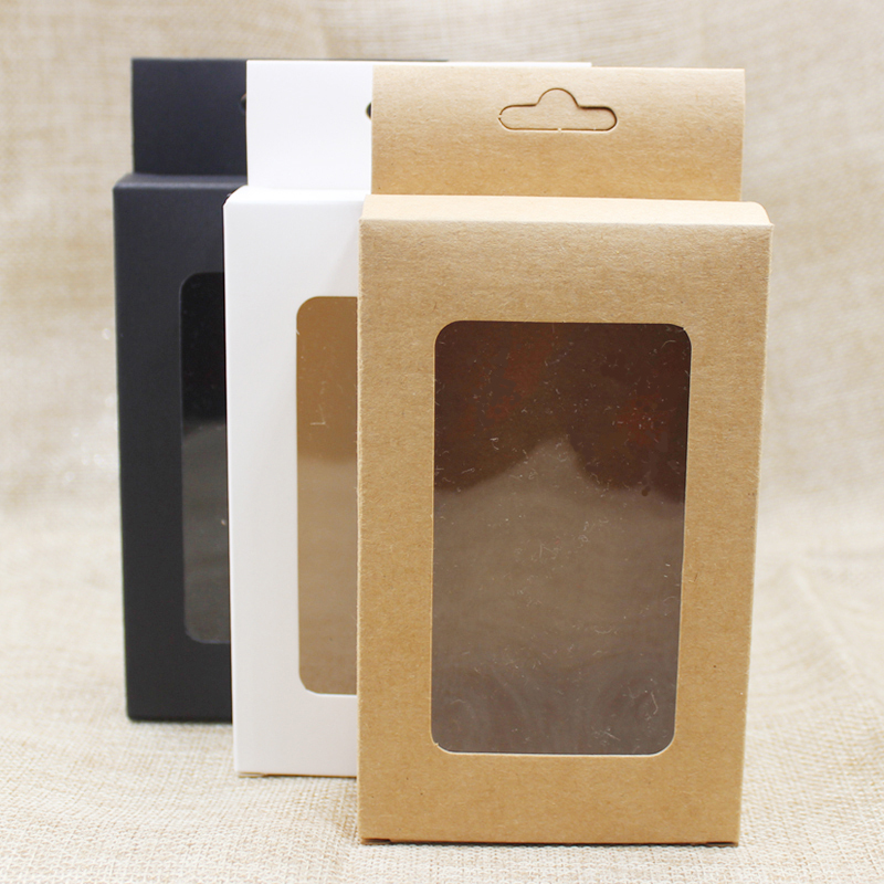 50 Pcs New Black Kraft White Paper Hanger Window Box