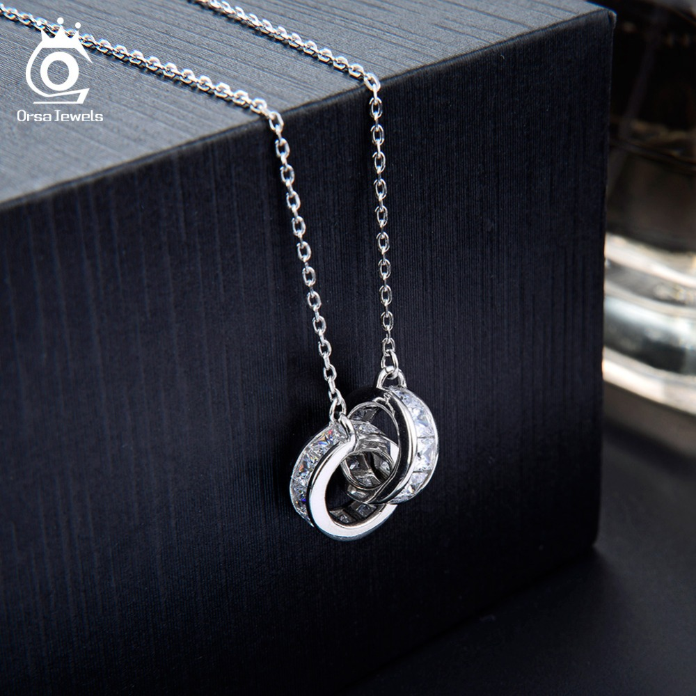 Image 4 - ORSA JEWELS 100% Real 925 Woman Twice Round Pendants Necklaces Sterling Silver Double AAA CZ Stylish Female Party Jewelry SN137-in Necklaces from Jewelry & Accessories