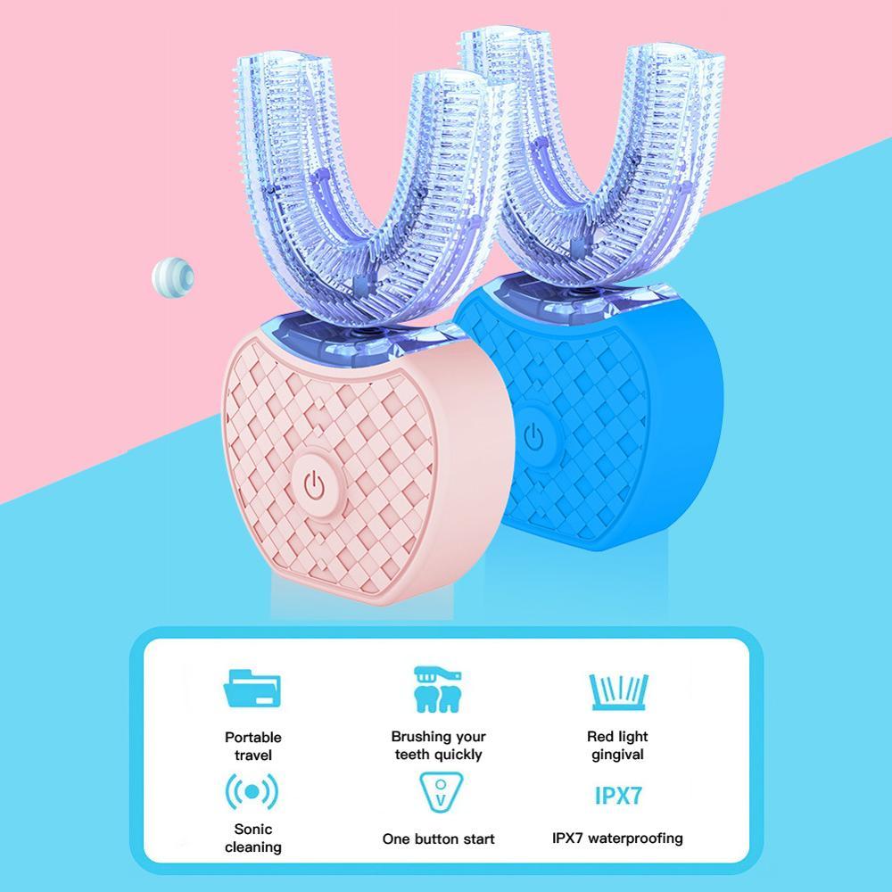 360 degrés électrique Intelligent automatique sans fil brosse à dents de charge U Type USB outils de blanchiment des dents
