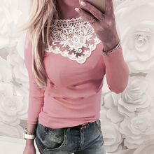 2018 Women's Long Sleeve Knitted Lace Blouse Hot Ladies Sweater Jumper tops Lace Shirt