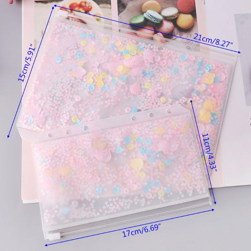 PVC rose paillettes stockage sac à fermeture éclair étui A5 A6 diviseur planificateur accessoires secouer carte pour cahier à spirale fournitures scolaires