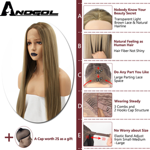 Image 3 - Anogol Natural High Temperature Fiber Long Silky Straight Blonde Ombre Dark Roots Synthetic Lace Front Wig For White Women