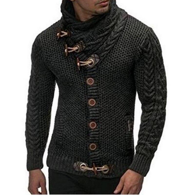 Laamei Otoño Invierno 2018 moda Casual Cardigan suéter abrigo para hombre ajustado botón cálido tejido ropa suéter abrigos hombres